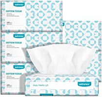 Ultra-Soft Baby Dry Wipes 100% Pure Cotton 600 Counts Super Strong & Resuable Face Towel & Makeup Removal DIY Cotton...