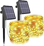 Catena Luminosa Solare, Kalenmos 2 Pacchi*12m 120LED Stringa Luci LED Esterno, Filo 8 Modalità