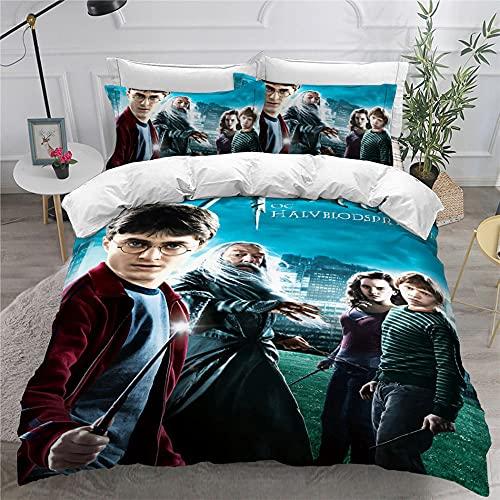 Harry Potter Funda Nordica 240 X 260 Cm Fundas Nordicas Juveniles Microfibra Suave De Calidad Hotelera con Cremallera Y 2 Fundas De Almohada De 40X75Cm 2 Personas