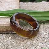 ShAwng 20.3 sardonyx Natural brown jade finger ring men pull that genuine special jade ring jade,9.75