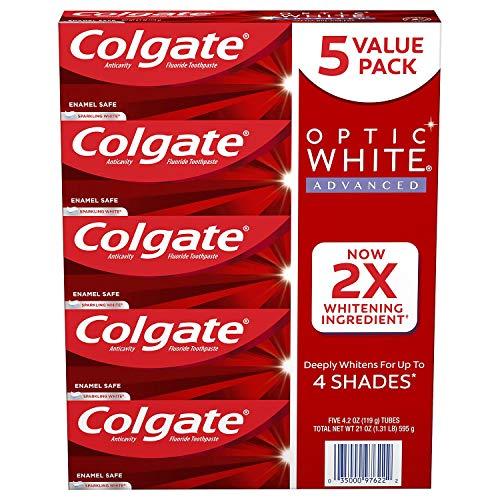 Colgate Optic White Advanced Teeth Whitening Toothpaste, Sparkling White (4.2 Oz., 5 Pk.), 21 Oz