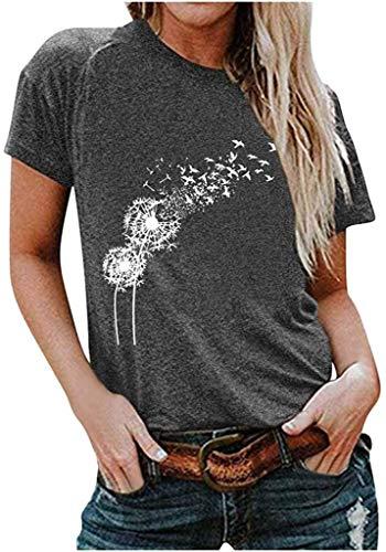 Nobrand Damen-T-Shirts, kurzärmelig, mit Löwenzahn-Muster, bedruckt, Rundhalsausschnitt, modische Idee Gr. XXL, grau