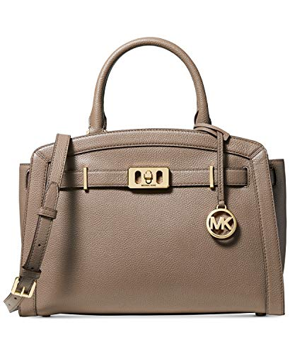 "Made of gorgeous Michael Kors stunning leather satchel with polished gold tone hardware Measures approx. 13 inch (W) x 9.5 inch (H) x 5.5 inch (D) Two 11 inch rolled leather handles with 5 inch drop; convenient 20"" detachable shoulder strap Zipper to..."