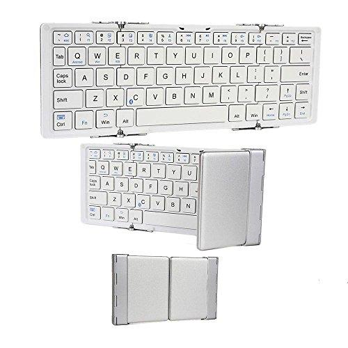 Cooper Cases (TM) Optimus Tastiera Universale con Bluetooth in Bianco e Argento (Elegante Struttura in Alluminio; Pieghevole, Design Portatile Compatto con Funzione Apri/Chiudi Facilitata; Tastiera QWERTY a 64 Tasti; Operatività fino a 90 Ore; Batteria al Litio Ricaricabile; Cavo di Ricarica USB Incluso)