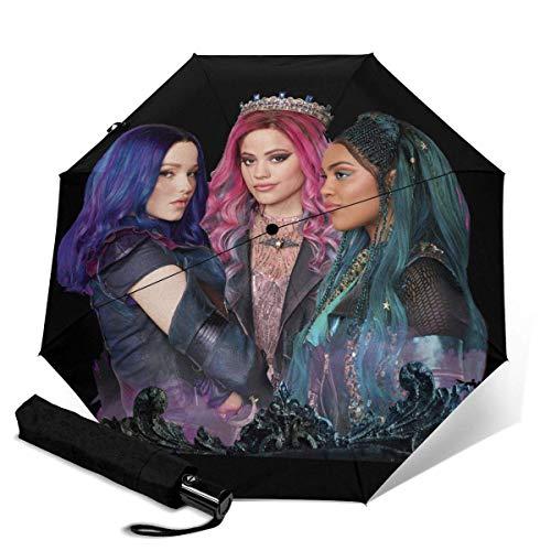 Descendants 3 paraguas plegable automático compacto a prueba de viento, plegable automático de viaje Paraso negro
