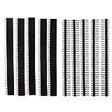 TOOGOO(R)5 PCS Packung 40 polige 2,54 mm einreihig gerade w: Steckerstift + Buchsenstift Binder -Streifen schwarz