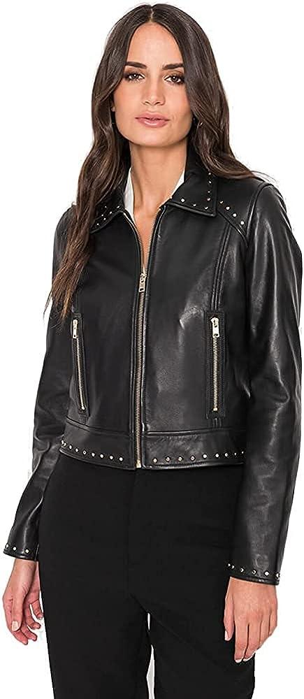 Women's Black Leather Jacket Casual Coat Zip Up Outerwear Prod By Fasigo