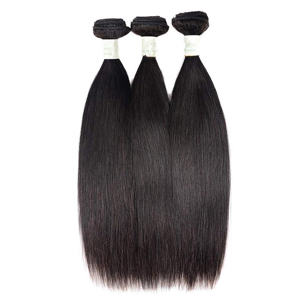 ながら自己シルク3バンドル人間の髪織りバンドルグレード8Aブラジルバージン毛延長横糸レミーストレート#1Bナチュラル