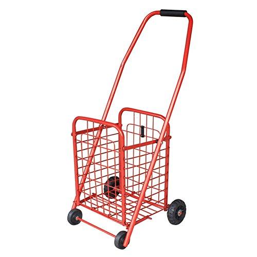 SGMYMX Einkaufswagen Palou Falten Warenkorb Kleinwagen Bollerwagen Aluminium Korbboden tragbaren Beiwagen Warenkorb Artikulation (Color : Red, Size : S)