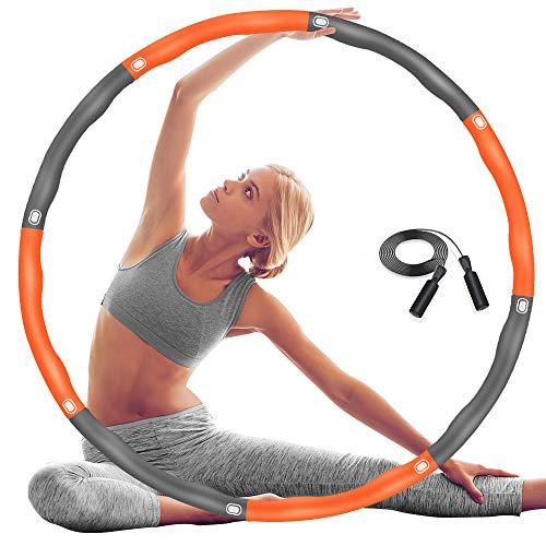 DUTISON Hula Reifen Hoop Erwachsene, Fitness Übung Gewichteter Hoola-Reifen-Hoop mit Schaumstoff Einstellbar, 6-8 Knotens Segmente Abnehmbares Größenverstellbares Design für Anfänger - mit Springseil