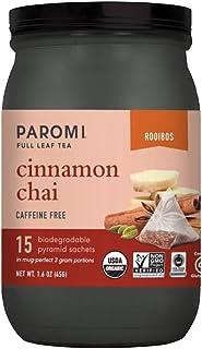 Paromi Tea Organic Cinnamon Chai Caffeine-Free Rooibos Tea, 15 Pyramid Tea Bags - Non-GMO