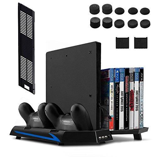 Keten Ventilateur pour PS4 Slim / PS4 Support Vertical Stand 2 en 1 [Nouvelle Version] Station de Chargement pour Manettes, Stockage de Jeux et Hub de 3 Ports - Produit Tout-en-un pour vos Besoins