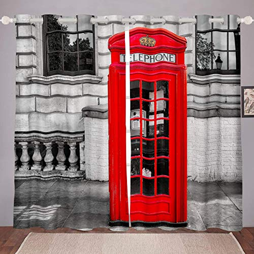 London Window Curtain PanelsFamous London Telephone Booth Blackout Curtains Traditional England UK Street Cultural Style Window DrapesRoom Decor