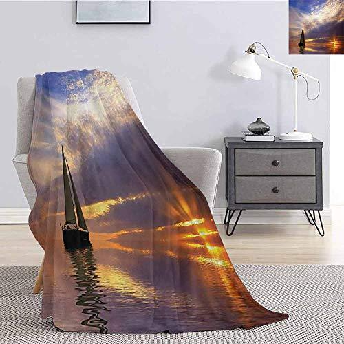 Luoiaax Sailboat Comfortable Large Blanket Sailing with Sunset Sunbeams on The Horizon Romance Honeymoon Destination Microfiber Blanket Bed Sofa or Travel W70 x L90 Inch Marigold Bluegrey