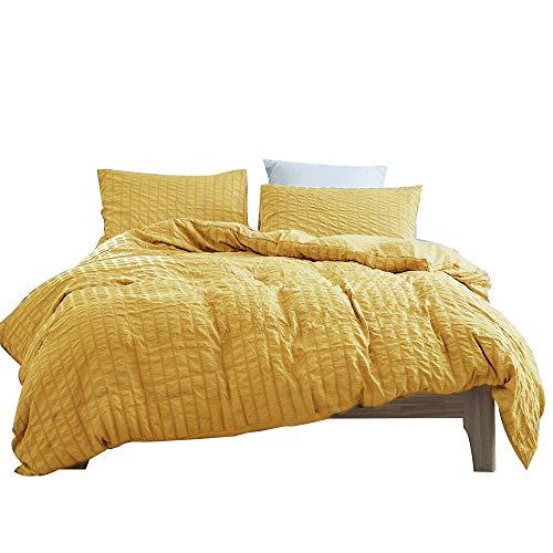 Plain Reversible Printed Seersucker Duvet Cover Set Single Double King Size Stripe Multi Poly Cotton Bedding Set with Pillowcases,Yellow,200x230cm
