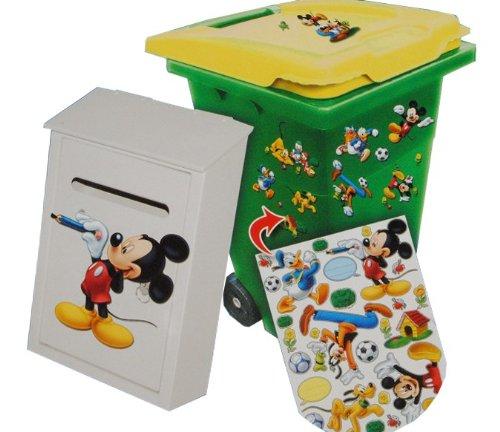 alles-meine.de GmbH 28 TLG. Set Aufkleber für Mülltonne + Briefkasten - Disney Mickey Mouse Donald - Wasserfest Sticker