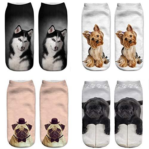 10 Pares Cute Dog Cat Printing Sock Slippers Women Cotton Socks Animal Print Ankle Socks Unisex Men and Woman...