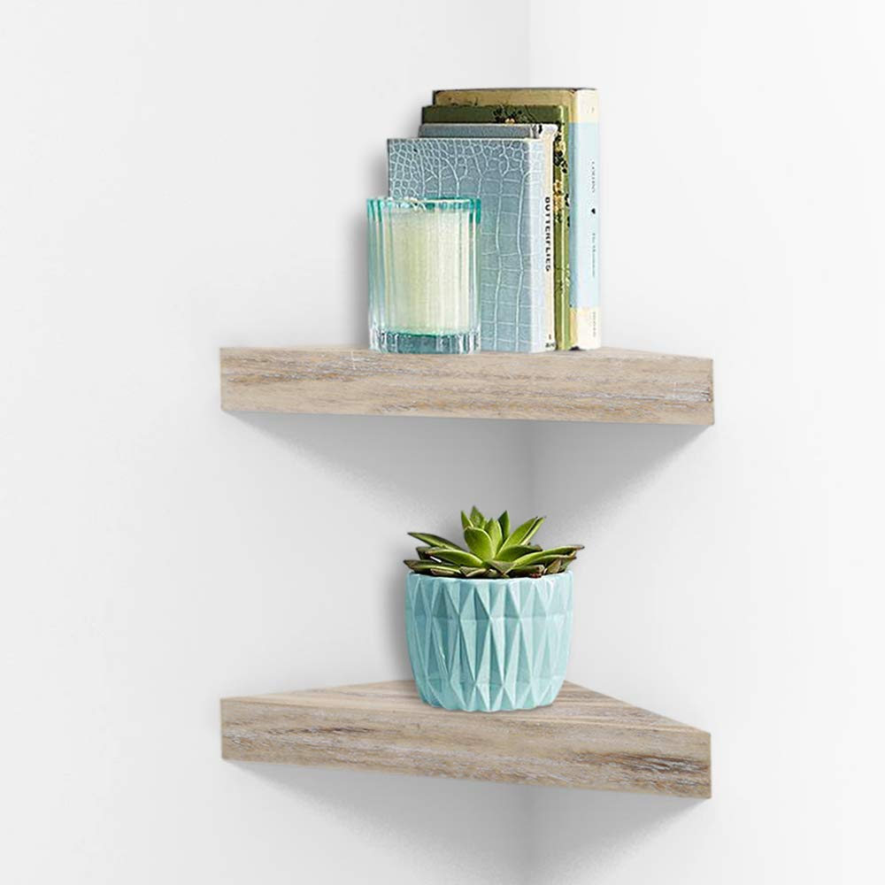 Amazon Com Zgzd Rustic Corner Shelves Floating Wall Storage Shelf For Living Room Bedroom Kitchen Set Of 2 Home Kitchen