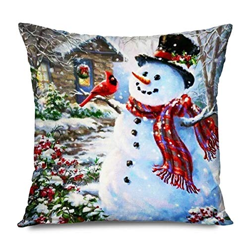Throw Pillow Cover 18 'Holiday Christmas Winter Snowman Family Bufandas Rojas Sombreros Trees s Cardinal Wood Funda Almohada