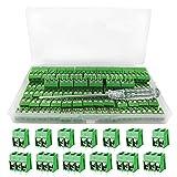 YIXISI 100 piezas Bloque de terminales de tornillo conectores de bloque de terminal de tornillo de montaje de 2P/3P PCB de paso de 5mm (Verde)