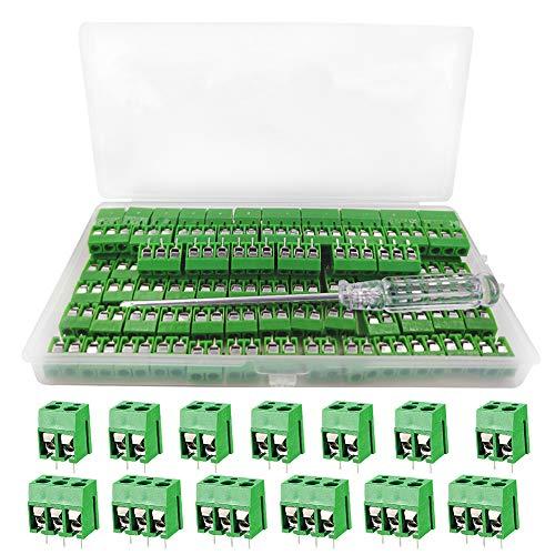 YIXISI 100 Pezzi 5mm 2 Pin / 3 Pin PCB Morsettiera a Vite, per Prototipo PCB Scheda Circuito Stampato per Arduino (Verde, 80pz 2 Pin, 20pz 3 Pin)