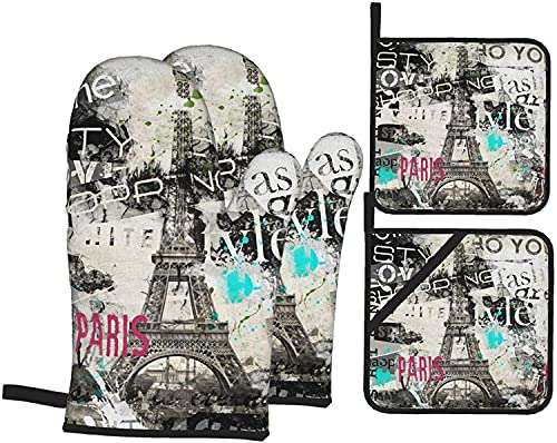 Romance-and-Beauty Juegos de Porta ollas y Manoplas de Horno Juego de 4 Guantes de Cocina y Porta ollas de la Torre Eiffel Vintage, Divertidos Guantes para Hornear Antideslizantes Resistentes al calo
