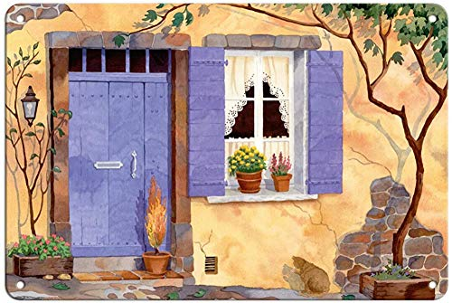 Panneau en métal de style vintage provençal pour intérieur et extérieur - Décoration murale - 20,3 x 30,5 cm
