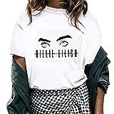 Women Fashion Print Tee Girl Casual Crew Neck Print Top Blouse Personality Top White