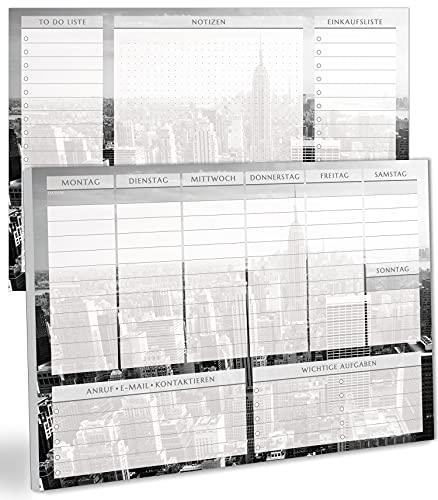 blaash® Wochenplaner Block DIN A4 ohne festes Datum | 50 Seiten Planer mit Wochenübersicht, Listen für Aufgaben, Notizen & Ideen | Optimale Organisation & Motivation im Alltag | Skyline