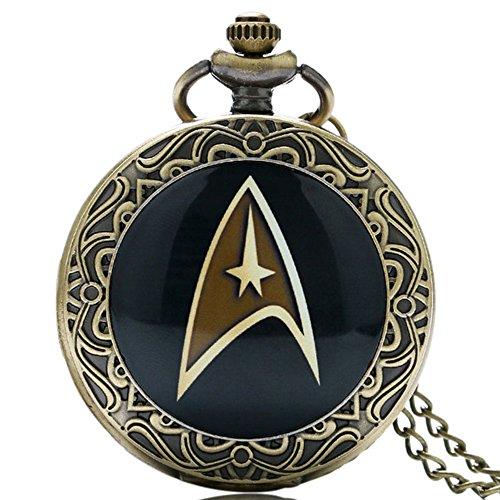 Herren-Quarz-Taschenuhr mit schwarzem Star-Trek-Logo mit dekorativem Rand, antiker Bronze-Effekt, Retro-/Vintage-Stil, mit 80 cm langer Kette