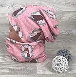 Beanie und Loop Set, Jersey Fleece Gr 44-54 Bär Fuchs rosa kindermütze, mützen set Mädchen mädchenmütze Wintermütze