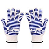 Zhongsheng Revolutionary 932°F Extreme Heat Resistant EN407 Certified Gloves - Thick, Light-weight & Flexible, 2 Gloves - Use in Dutch Oven, Big Green Egg, Pizza Stone, Cast Iron Pan(Blue(2 PCS))