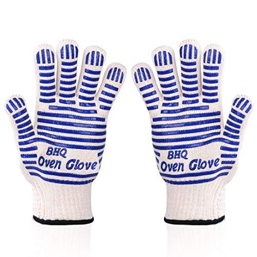 Grillhandschoenen, tot 500 °C - vinger-design ter bescherming tegen snijden, kookhandschoen, silicone aramidevezels, hittebestendige handschoen voor barbecue, keuken, oven, magnetron (Een paar blauw)