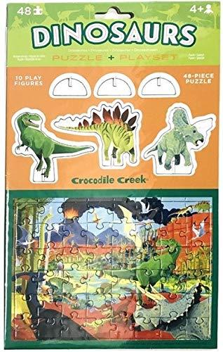 Crocodile Creek - Puzzle y Juego de 48 Piezas y 10 Figuras de Juego desplegables para niños a Partir de 4 años, Dinosaurios