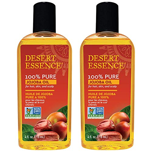 Desert Essence 100% Pure Jojoba Oil  4 Fl Oz  Pack of 2  Haircare amp Skincare Essential Oil  All Skin Types  No Oily Residue  May Help Prevent Flakiness  Makeup Remover  Aftershave Moisturizer