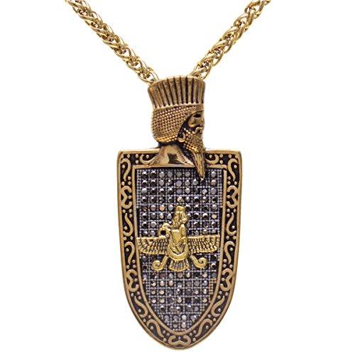 Asoodehdelan Gold Pt Cyrus The Great Farvahar Necklace Chain Iranian Persian Faravahar Gift (24