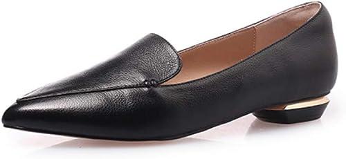 VIVIOO Escarpins en Cuir Cuir à la Mode pour Femmes Bout Pointu Confortable Chaussures à Bout Rond Chaussures de Printemps Occasionnels à la Main