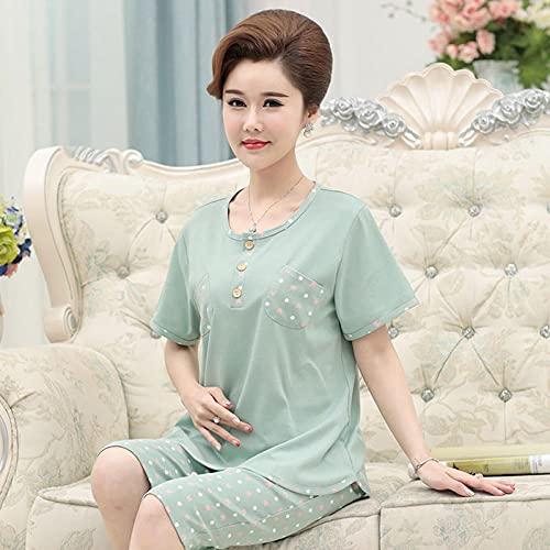 Cxypeng Franela camisón Conjunto,Xia Zhong, Viejo Pijama de algodón de Manga Corta, Traje para el hogar-XXXL_Mung Bean Color,Mujer Pijama de Algodón con Pantalones