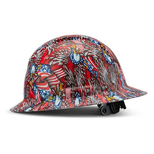 Full Brim Hard Hat Construction OSHA Hardhats, Men Women Safety Helmet, 4 Point, Custom Patriotic Design, by Acerpal, Wings of Freedom