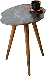 Casaculina End Table Brown Marble Vintage,Retro,Side Table, Mid-Century Modern Design Wooden Coffee Table, Cocktail Table for Living Room, Bedroom or Home Office