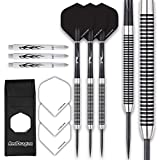 RED DRAGON Pegasus Tungsten Steel Darts Set - 30 Gram - Black Shafts, Black Extra Thick Flights, Case & Red Dragon Checkout Card