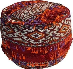 Black Friday - Maison Andaluz Großer Kelim Hocker, rund, Vintage, marokkanisches Design, Pailletten, per Hand gefertigt, gefüllt, 54 cm Durchmesser, Rot