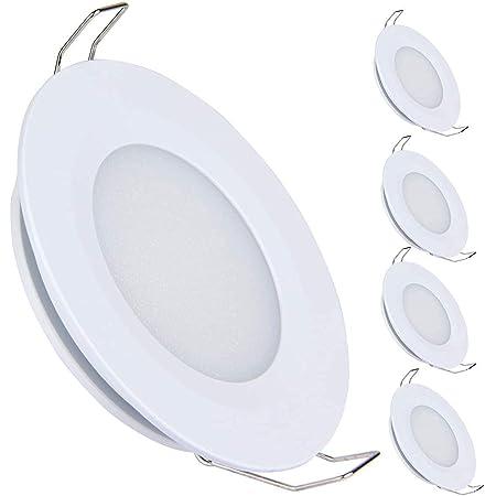 acegoo 4 x spots LED Encastrables 12V 3W 3200K Plafonnier Encastré pour Camping-car Bateau Caravane Cuisine Salle de Bain, Blanc chaud (Finition blanche)