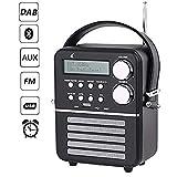 Dab Radio Bluetooth FM dl Digitale Radio avec Telecommande et USB,AUX,Minuterie et Réveil, Batterie Rechargeable Intégrée 1800 mAh