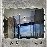 Espejo de baño, antivaho, espejo de baño con lámpa Impermeable Iluminado LED Baño Espejo, 60x80 cm LED Cuarto de baño Iluminado Espejo de pared sin marco Impermeable y a prueba de humedad Vanity Mirro