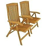 2 x Gartenstuhl Hochlehner 5-Fach verstellbar Position Chair Holz Akazie Balkon