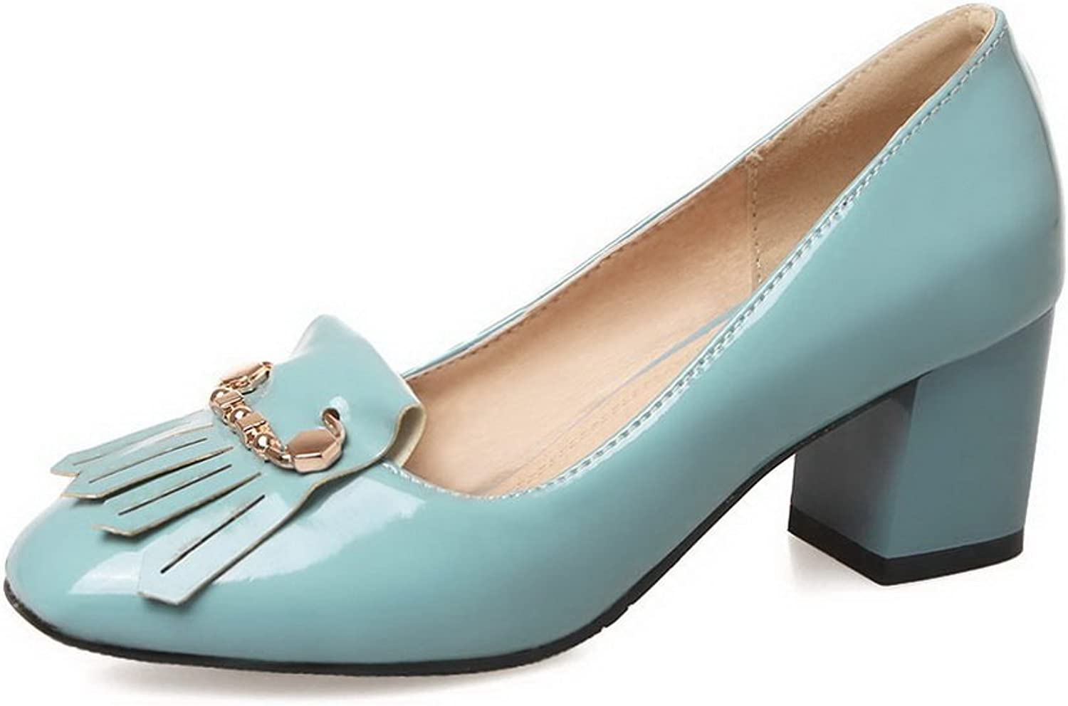 BalaMasa Womens Charms Tassels Chunky Heels Patent-Leather Pumps shoes