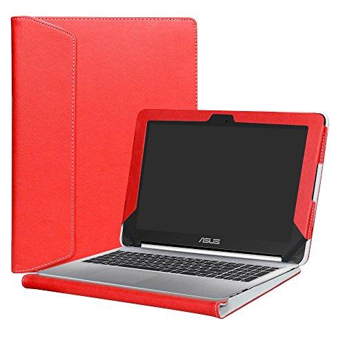 Alapmk Diseñado Especialmente La Funda Protectora de Cuero de PU Para 10.1' ASUS Chromebook Flip C100PA C101PA C101PA-FS002 Series Ordenador portátil,Rojo