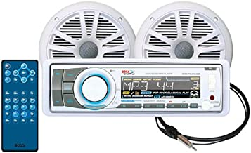 BOSS Audio Systems MCK752WB.6 Receiver Speaker Package, Bluetooth, CD MP3 USB SD AM FM Marine Stereo, Detachable Front Panel, Wireless Remote, 2 6.5 Inch Speakers, Antenna