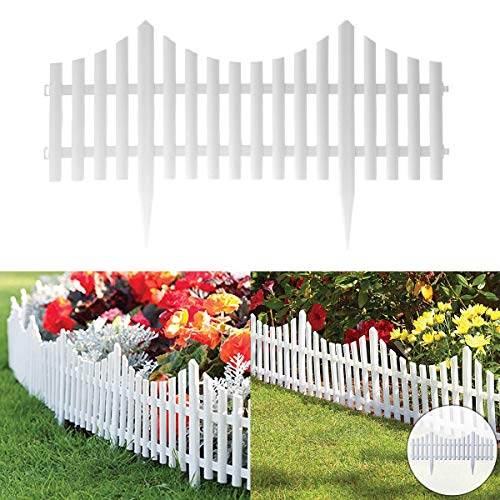 Fineway Set of 4 Plastic Wooden Effect Lawn Garden Border Edge Edging Plant Picket Fencing Interlocking Panels for Flowerbeds (White)